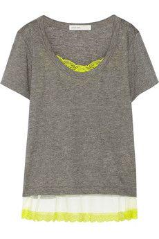 Sacai Sacai Luck lace-trimmed slub linen-blend T-shirt | NET-A-PORTER