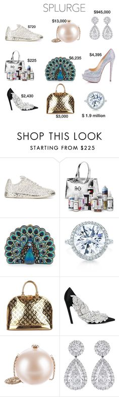 """""""Splurge"""" by emmyt94 ❤ liked on Polyvore featuring Maison Margiela, R+Co, Judith Leiber, Tiffany & Co., Louis Vuitton, Balenciaga, Chanel and Christian Louboutin"""