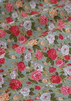 SALE  Red roses on green cotton fabric / green by TheFabricHippie, $4.50