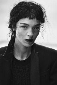 Peter Lindbergh photographs black and white imagery of raven-haired beauty Mariacarla Boscono in all black attire of Givenchy for the November issue of Vogue Italia. Hair by Odile Gilbert, Make-up by Val Garland Peter Lindbergh, Photo Portrait, Portrait Photography, Editorial Photography, White Photography, Black And White Face, White Lips, Too Faced, Black And White Portraits