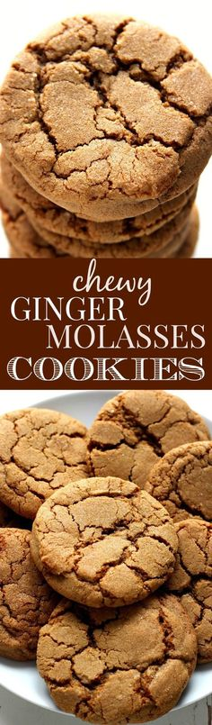 Chewy Ginger Molasses Cookies - classic holiday cookie that everyone loves! No special ingredients and no chilling the dough required! (chewy chocolate no bake cookies) Cookies Receta, Yummy Cookies, Sweet Cookies, Baking Cookies, Almond Cookies, Chocolate Cookies, Köstliche Desserts, Delicious Desserts, Dessert Recipes