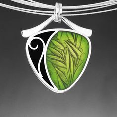 Bamboo, PMC, sterling and resin pendant by Ivy Solomon