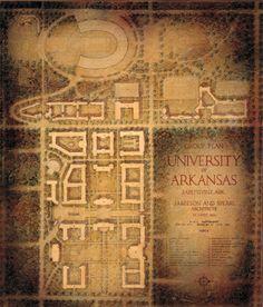 original campus plans for the University of Arkansas