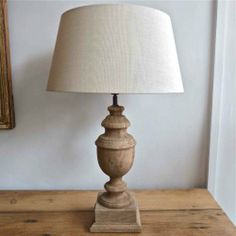 PAIR OF CARVED WOOD TABLE LAMPS & LINEN SHADES