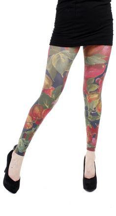 6460a9cc0 Apples   Grapes Printed Footless Tights Red - Pamela Mann