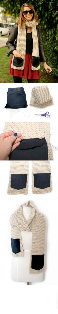 Denim Pocket Scarf - DIY Winter Crafts