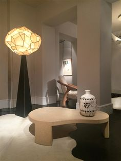 """Floor lamp """"Scramble"""" by Mauro Fabbro (Alexandre Biaggi's edition) / Coffee table by Paul Frankl / Vase by  Jean Besnard"""