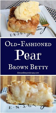 Old-Fashioned Pear Brown Betty – easy to make gluten-free! blessedbeyondcraz… … Old-Fashioned Pear Brown Betty – easy to make gluten-free! Fresh Pear Recipes, Pear Dessert Recipes, Köstliche Desserts, Fruit Recipes, Baking Recipes, Cake Recipes, Pear Recipes Gluten Free, Recipes With Pears, Asian Pear Recipes