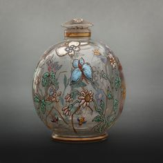Emile Galle enameled glass with butterfly decor