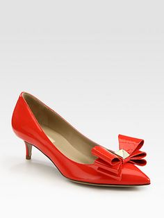 Valentino - Versailles Patent Leather Point Toe Bow Pumps - Saks.com