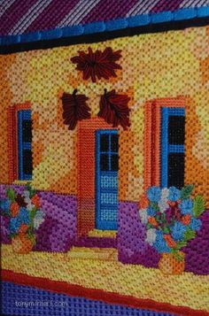 needlepoint southwester house stitched by Denise Fischer. Designer unknown. Stitch and Thread Guide by Tony Minieri. ©2016 Anthony Minieri® All Rights Reserved