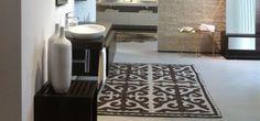 Beautiful felt rug in modern interior.
