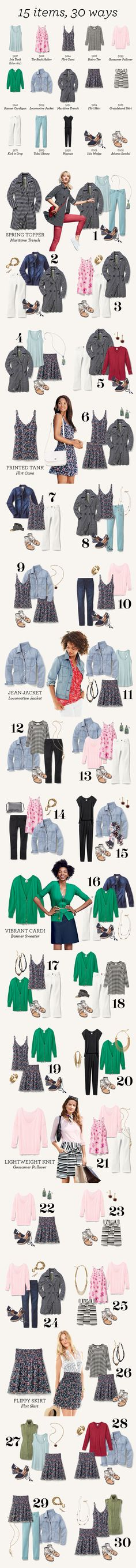5 wardrobe staples, 15 spring favorites = 30 new looks. Check out this wardrobe capsule for endless outfit ideas!