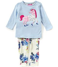 Joules Baby Girls Newborn-12 Months Unicorn Top and Floral Pants Set