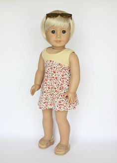 American Girl doll sized tri-city knit dress - yellow and orange floral by EverydayDollwear on Etsy