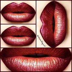 """bmb cosmetics """"First Class"""" Liquid Lipstick on top of """"Amster-Damn"""" Lipstick.  sugarpill makeup """"Supercharged"""" Sparkling Neon Pigment in the center. Lipliners - MAC """"Vino"""" & """"Talk That Talk"""" (LE)"""