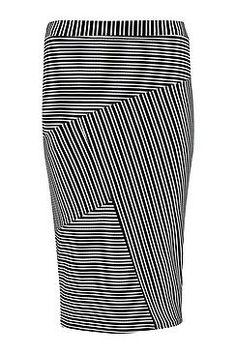 Scarlett Monochrome Panelled Crepe Midi Skirt