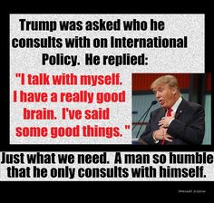 Trump: I consult myself on foreign policy Best Brains, Political Quotes, Stupid People, Stupid Things, Foreign Policy, Thats The Way, In This World, Donald Trump, At Least
