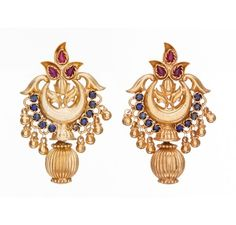 SKU-RPSE08343-Inspired from old south Indian temple jewellery,gold plated sterling silver earring made with semi precious stones<br />
