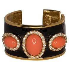 Kenneth Jay Lane Black Enamel  Coral Cuff ($275) ❤ liked on Polyvore featuring jewelry, bracelets, coral, coral jewellery, enamel jewelry, kenneth jay lane, cuff jewelry and enamel bangle