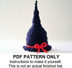 Baby Hat Knitting Pattern - Instant Download Witch Hat Pattern - Halloween Pattern (Newborn Infant Toddler Child sizes) the GLINDA Hat