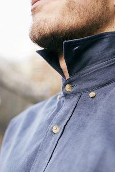 329c134964583 Chemise sur-mesure by Le Chemiseur, en velours bleu gris  mode  fashion
