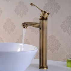 Luxury classic Antique Brass Finish Single Handle Centerset Wood-like Hot and Cold Taps Bathroom Sink Faucet(Tall) CSZ Best Bathroom Faucets, Bathroom Light Fixtures, Bathroom Lighting, Cheap Bathrooms, Amazing Bathrooms, Modern Traditional, Kitchen And Bath, Antique Brass, Handle