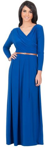 Crossover Wrap Chest Long Sleeve Maxi Dress