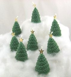 8 Christmas Tree with Star Candle Gift Favors Handmade Rolled Beeswax | DoubleBrush - Candles on ArtFire