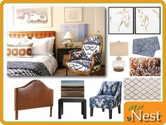 Navy Tan Bedroom.  This bedroom has an equestrian feel with rustic and western touches but also is calming with neutrals and pops of blue.  Indigo is on trend right now so many accessories can be found to fill this room.  Shop our site for products to replicate the look including this leather headboard, ikat chair, glass lamp, otomi pillow, horse sketches, abstract landscape wall art and moroccan rug.