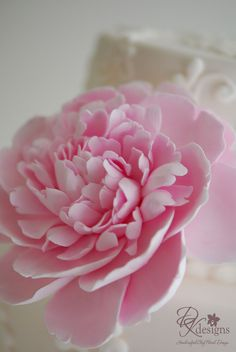 DK Designs: Frilly Pink Peony Cake Flower