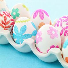 Easter time! Sweet easy and pretty! Use glitter or colored sugar and a safe glue or egg wash adhesive! Backing for sticker sheets works great and little girls love tiny flower and heart stickers- or you can use the stickers to dress up plain disposable dishware or glassware!