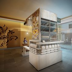 Design for a shelf contained Coffee and fresh Bakery Kiosk in Moscow for Boutique Bakery Nash Xleb.