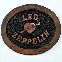 Led Zeppelin Fan Heart & Arrow Small Oval Wooden Sign Carved Vtg? Folk Art