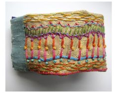 Outer Space looking Hand Embroidered Cuff by MadrigalEmbroidery