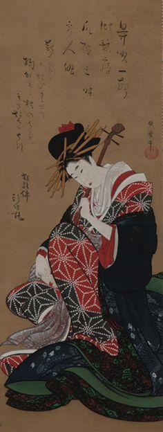 Shamisen Player late 18th-early 19th century  Kitagawa Utamaro , (Japanese, 1754 - 1806) Edo period