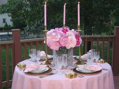 Pink, peonies, & pearls tablescape for Mother's Day, bridal luncheon or a special birthday