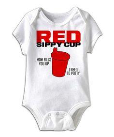 Look at this #zulilyfind! White 'Red Sippy Cup' Bodysuit - Infant #zulilyfinds