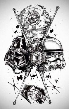 Tattoo Ärmel Ideen Zeichnungen Star Wars 52 Ideen - Tattoo Ärmel Ideen Zeichnungen Star Wars 52 Ideen Check more at Imágenes efec - Star Wars Tattoo, War Tattoo, Death Star Tattoo, Sith Tattoo, Cartoon Star Wars, Watercolor Tatto, Darth Vader Star Wars, Darth Vader Tattoo, Stormtrooper Tattoo