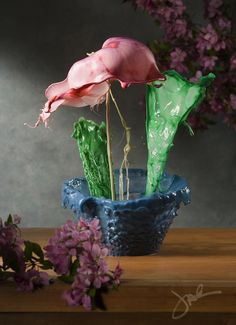 Mind-Blowing Splashes of Liquid Potted Flowers-Jack Long