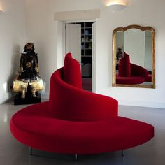 Sofá redondo / de diseño original / de metal / de tela TATLIN by Mario Cananzi…