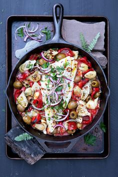 Use our sweet piquillo peppers, marinated artichokes and your favorite DeLallo olives to create a zesty base for tender, flaky cod. Seafood Pasta Recipes, Fish Recipes, Seafood Meals, Olive Recipes, Italian Recipes, Spanish Recipes, Arrabbiata Recipes, Spicy Shrimp Pasta, Recipes