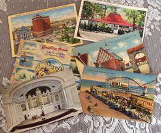 Set of 6 Vintage Linen 1930's Postcards Of Rhode Island, Maine, Connecticut, Antique Linen Postcards, Collectible Linen Postcards by LakesideVintageShop on Etsy