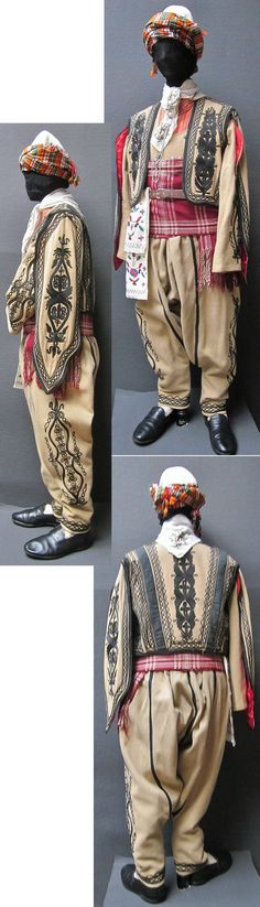 Traditional men's costume from the district of Silivri (west of Istanbul).  Style: people's militia, Albanian immigrants' style, ca. 1900.  The 'şalvar' (trousers), the long-sleeved 'cebedan' (vest), and the 'kartal kanat' (outer vest with hanging sleeves) are workshop-made machine-embroidered copies (1990), as worn by folk dance groups.  The accessories are original (and some of them old): 1900-1960.  (Kavak Costume Collection - Antwerpen/Belgium).