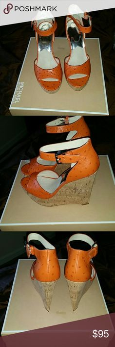 Tangerine ostrich wedges Michael Kors open toe Tangerine ostrich wedges 5 inches Michael Kors Shoes Wedges