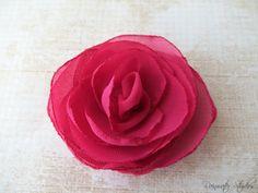 Wedding Hair Flower  Berry Chiffon Flower Girl by RainwaterStudios, $10.00