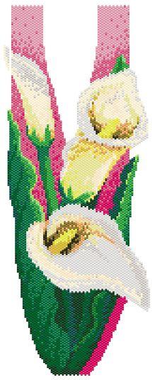 Frieda's Callas (Peyote or Brick Stitch) PDF Beading Patterns Free, Bead Loom Patterns, Peyote Patterns, Ribbon Embroidery, Embroidery Patterns, Beaded Banners, Calla, Beadwork Designs, Peyote Beading