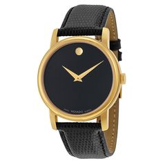 Movado Museum Black Dial Black Leather Mens  Watch 2100005 #Movado #Casual