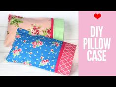 Learn how to make a pillowcase with a border & French seam. Best of all it won't take much more than 15 minutes of your time. Step by Step - 3 sizes. Small Pillow Cases, Sewing Pillow Cases, Small Pillows, Sewing Pillows, Diy Pillows, Sewing Basics, Sewing Hacks, Sewing Tips, Sewing Ideas