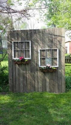 My Shed Plans - My old deck wood and windows from neighbors trash made a cute privacy screen. - Now You Can Build ANY Shed In A Weekend Even If You've Zero Woodworking Experience! Backyard Patio Designs, Backyard Landscaping, Landscaping Ideas, Desert Backyard, Large Backyard, Inexpensive Landscaping, Luxury Landscaping, Landscaping Software, Privacy Fence Designs